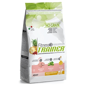 Fitness 3 No Grain Adult Medium & Maxi con Maiale, Piselli e Olio