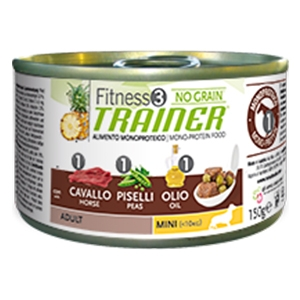 Fitness 3 No Grain Adult Mini con Cavallo, Piselli e Olio