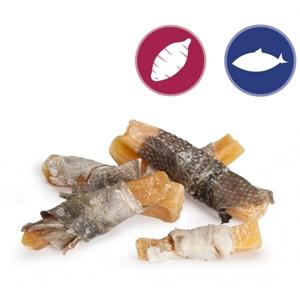 Bastoncini con Patata Dolce e Pelle di Salmone