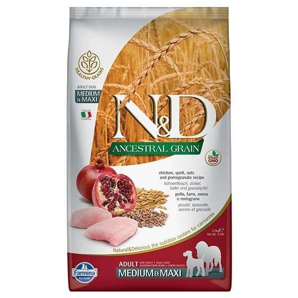 Natural & Delicious Low Ancestral Grain Adult Medium/Maxi con Pollo, Farro, Avena e Melograno