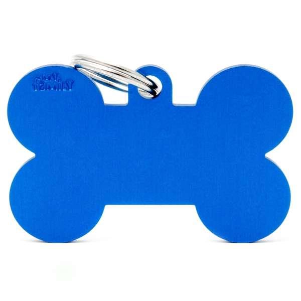 Medaglietta Basic Osso XL Blue in Alluminio