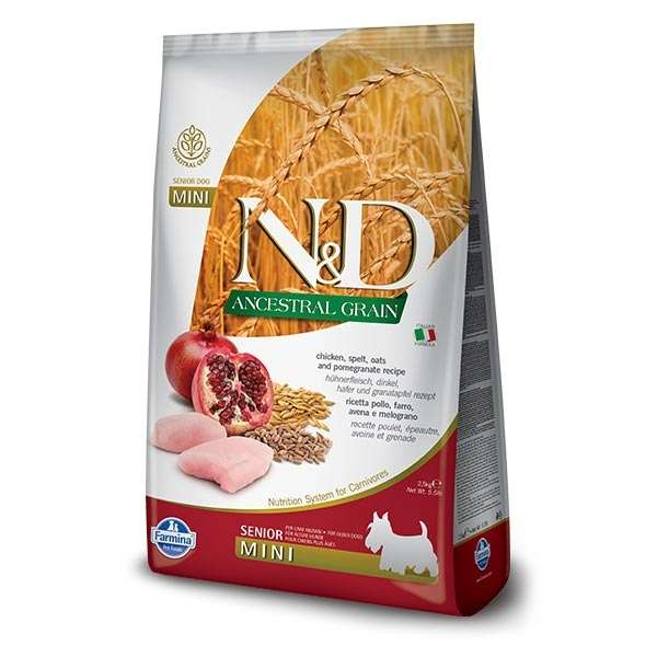 Natural & Delicious Low Ancestral Grain Senior Mini con Pollo e Melograno
