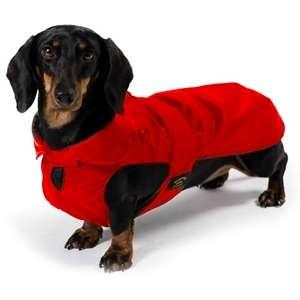 Cappotto Impermeabile con Imbottitura Staccabile Rosso per Bassotto