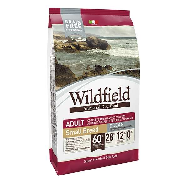 Wildfield Grain Free Ocean Adult Small Breed Aringa, Salmone e Tonno