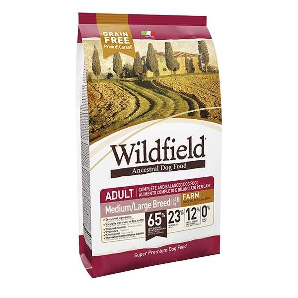 WildField Grain Free Farm Adult Medium & Large Breed Pollo, Anatra e Uova