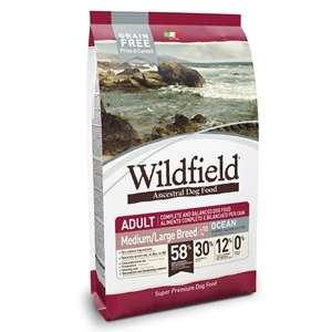 Wildfield Grain Free Ocean Adult Medium & Large Breed Aringa, Salmone e Tonno