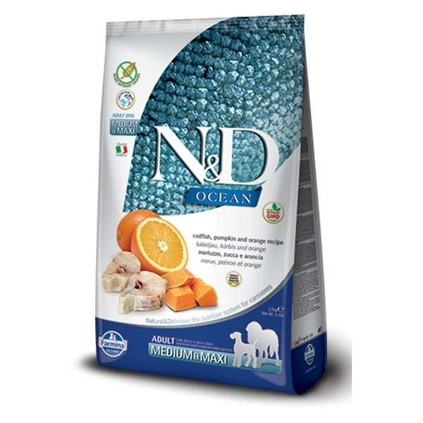 Natural & Delicious Ocean Adult Medium & Maxi con Merluzzo, Zucca e Arancia