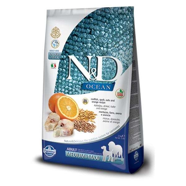 Natural & Delicious Ocean Adult Medium & Maxi con Merluzzo, Farro, Avena e Arancia