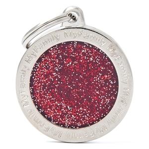 Medaglietta Shine Cerchio Glitter Rosso