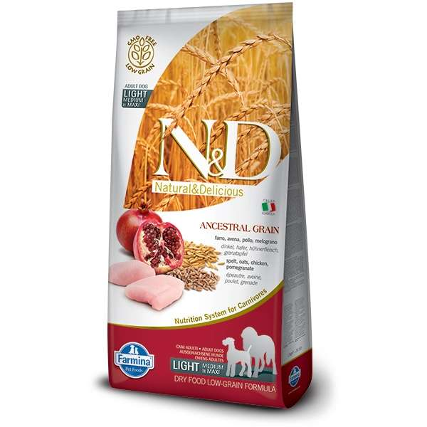 Natural & Delicious Low Ancestral Grain Light Adult Medium/Maxi con Pollo e Melograno