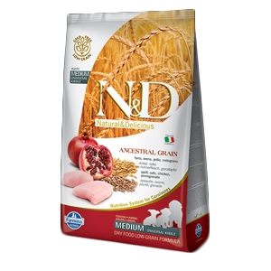 Natural & Delicious Low Ancestral Grain Puppy Medium con Pollo e Melograno