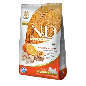 Natural & Delicious Low Ancestral Grain Adult Mini con Merluzzo e Arancia