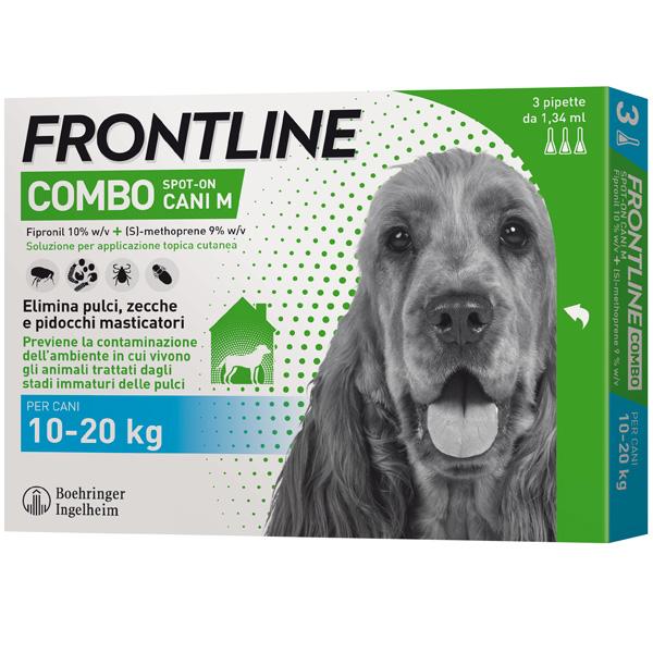 Frontline Combo per Cani - Combo Cani da 10 a 20 Kg - 3 Pipette da 1,34 ml