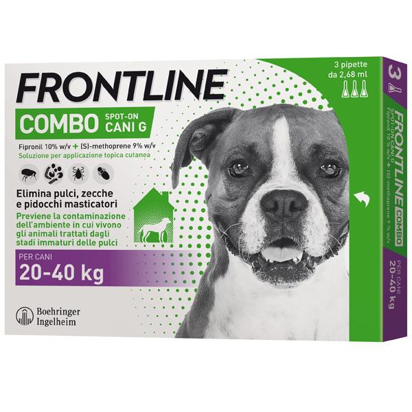 Frontline Combo per Cani - Combo Cani da 20 a 40 kg - 3 Pipette da 2,68 ml