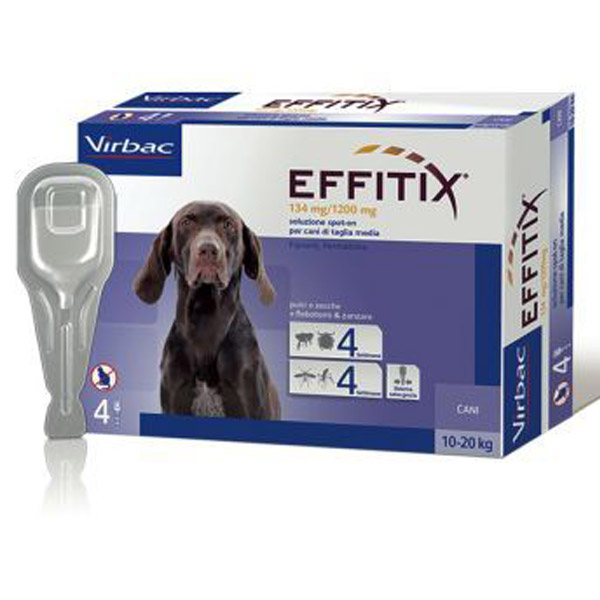 Effitix Soluzione Spot-On 4 Pipette - Cane Medium (10 - 20Kg) - 4 pipette