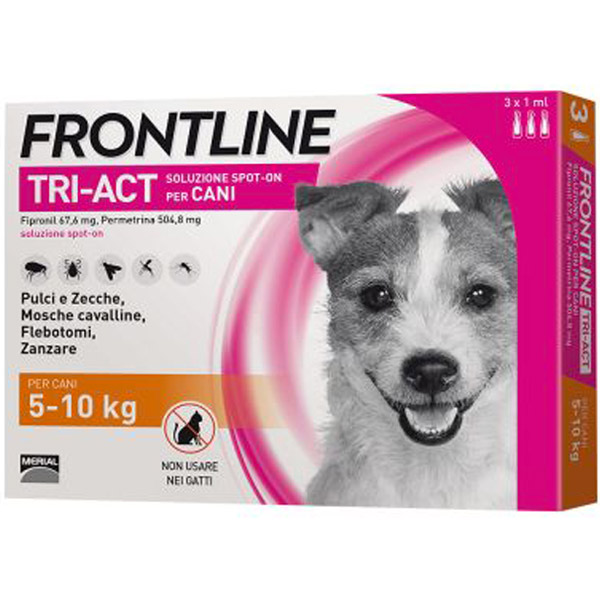 Frontline Tri-Act Spot-On 3 Pipette - 3 Pipette   Cane S (5 -10 Kg)