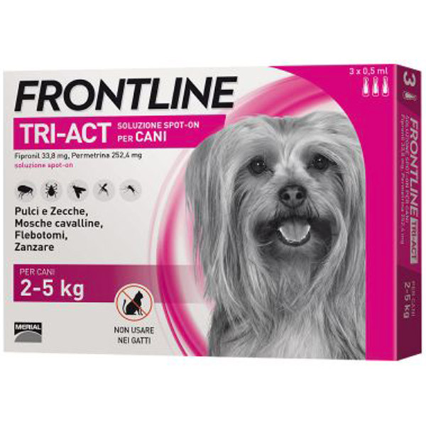 Frontline Tri-Act Spot-On 3 Pipette - 3 Pipette   Cane XS (2 - 5 Kg)