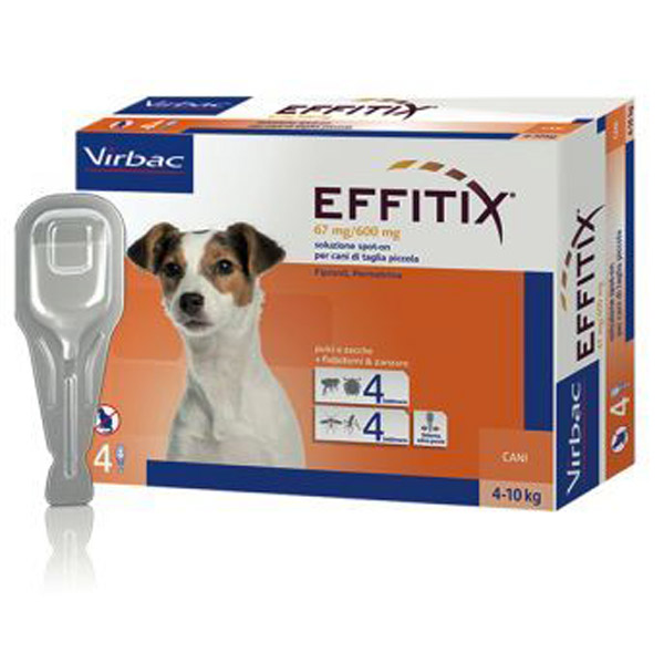 Effitix Soluzione Spot-On 4 Pipette - Cane Small (4 - 10Kg) - 4 pipette