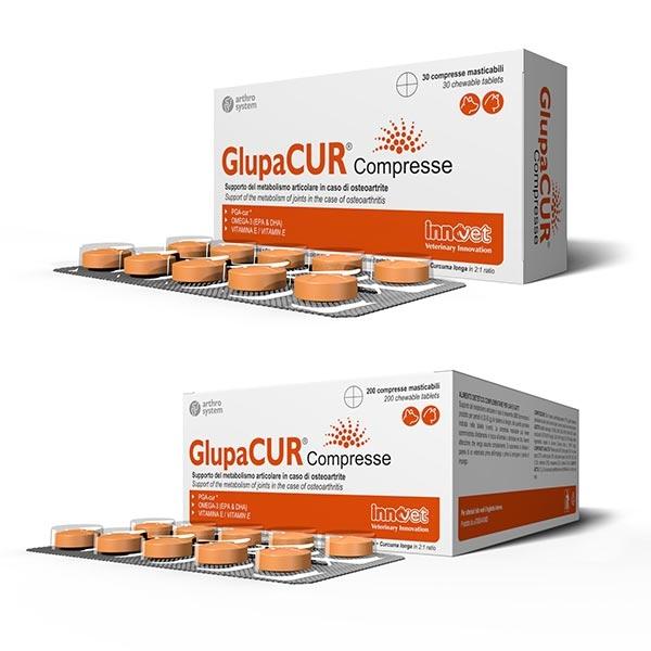 Innovet Glupacur Compresse, Supporto del metabolismo articolare, per cani e gatti - 1 Confezione | 30 Compresse masticabili
