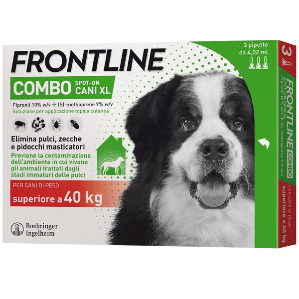 Frontline Combo per Cani - Combo Cani da 40 a 60 kg | 3 Pipette da 4,02 ml