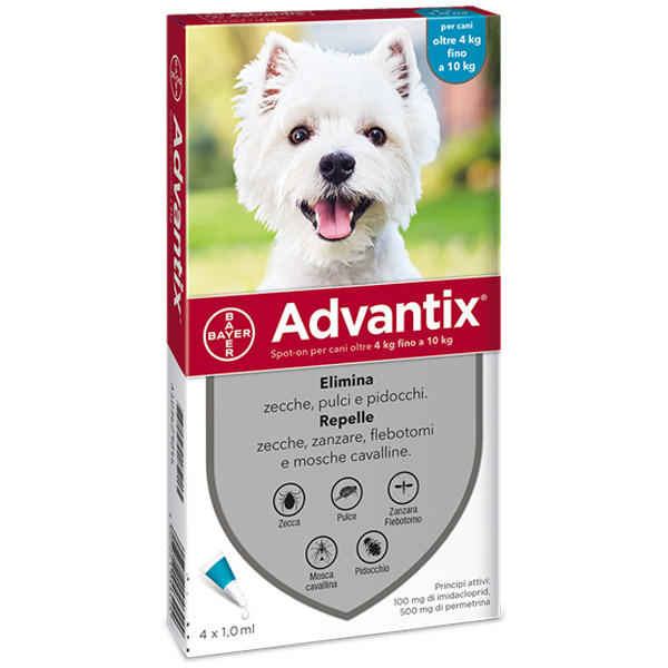 Advantix Spot-On - 4 Pipette - Advantix Azzurro per Cani da 4 a 10 kg - 4 Pipette da 1 ml