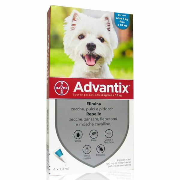 Advantix Spot-On - Advantix Azzurro per Cani da 4 a 10 kg - 1 Pipetta da 1 ml