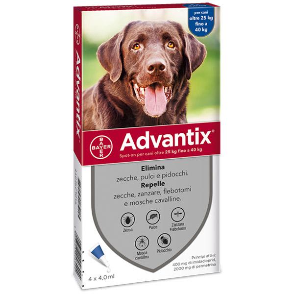 Advantix Spot-On - Advantix Blu per Cani da 25 a 40 kg - 4 Pipette da 4 ml