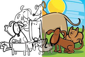 Stampa e colora gruppo di cani sul prato